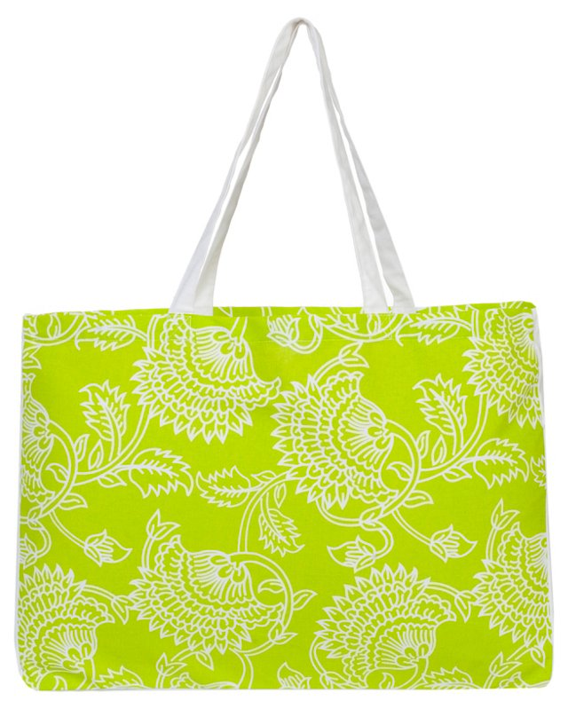 Palampore Market Tote, Lime/White