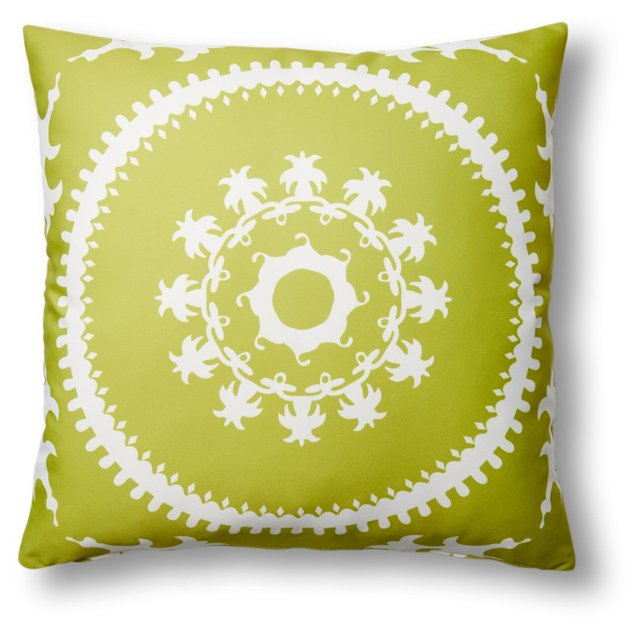 Medallion 20x20 Outdoor Pillow, Lime