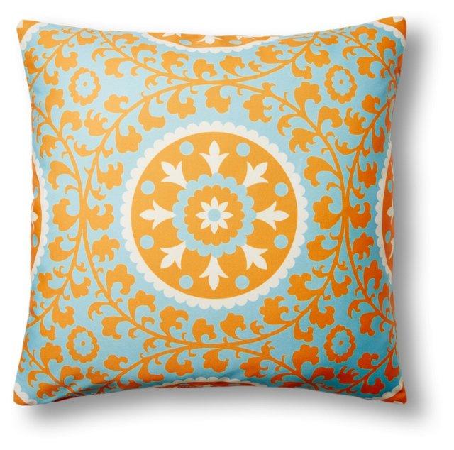 Ameena 20x20 Outdoor Pillow, Tangerine