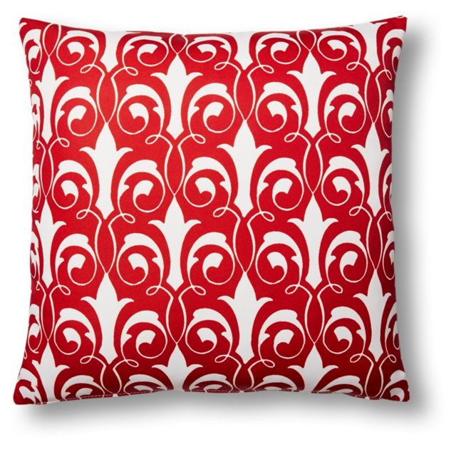 Damask 20x20 Outdoor Pillow, Red
