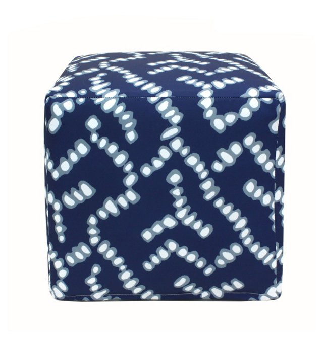 Abstract Outdoor Pouf, Blue