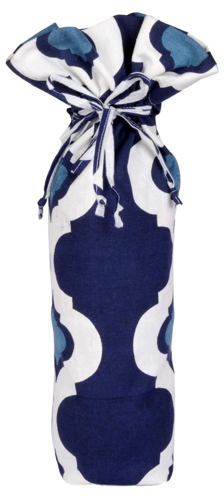 Ikat Wine Bag, Navy