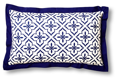 Tile 14x24 Cotton Pillow, Blue