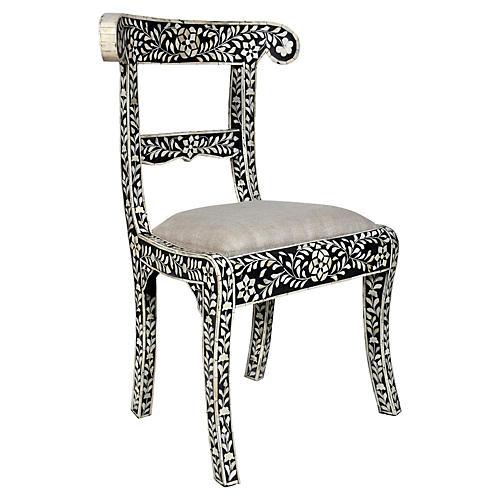 Bone Inlay Side Chair, Black/Beige