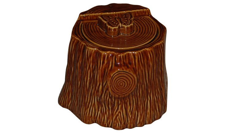 Faux Bois Treat Jar, Brown