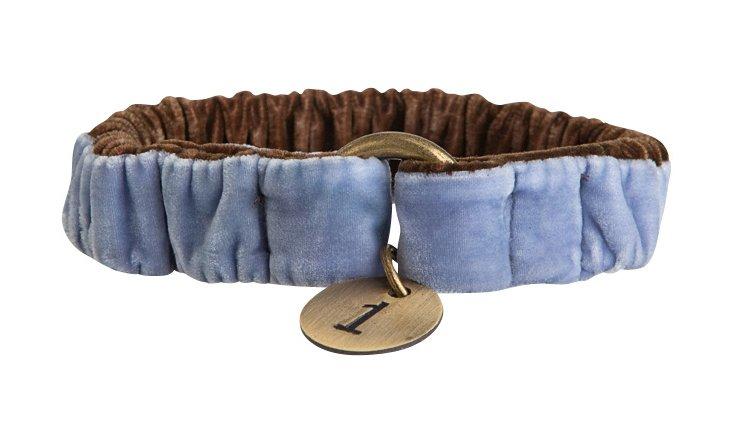 Large Velvet Scrunch Collar, Blue