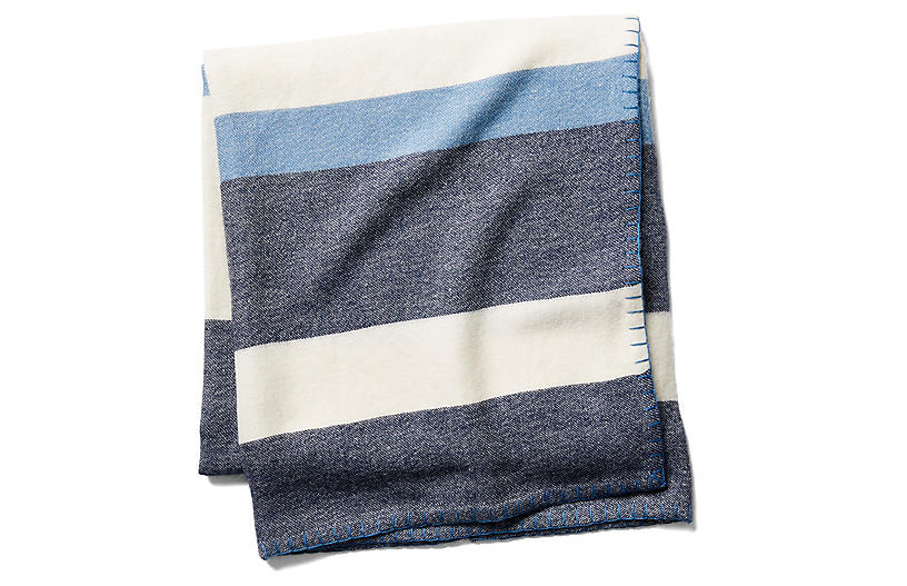 Block-Stripe Throw, Navy/Periwinkle