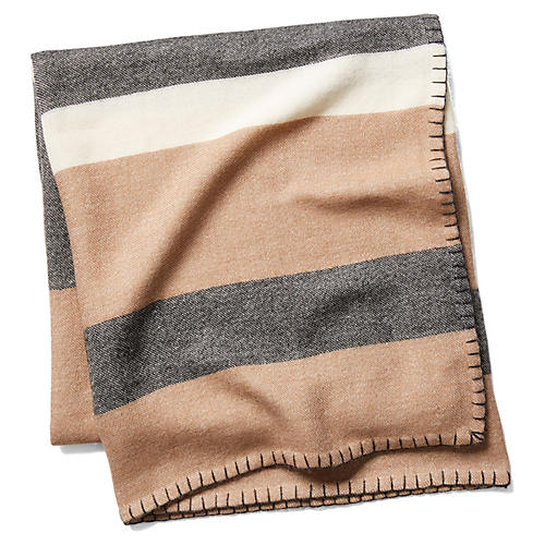 Block-Stripe Throw, Camel/Charcoal
