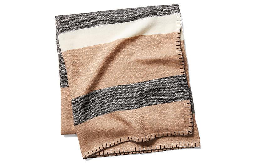 Block-Stripe Throw, Camel/Charcoal