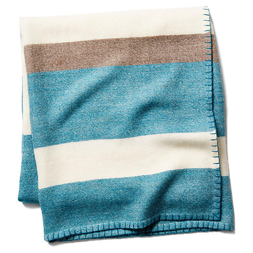 Block-Stripe Throw, Peacock/Taupe