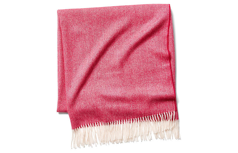 Madison Herringbone Throw, Tulip