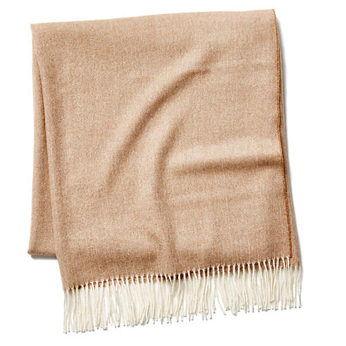 Madison Herringbone Throw, Camel