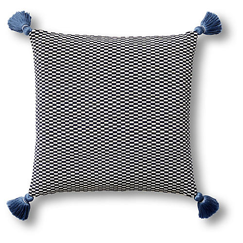 Ella 18x18 Pillow, Navy/Natural