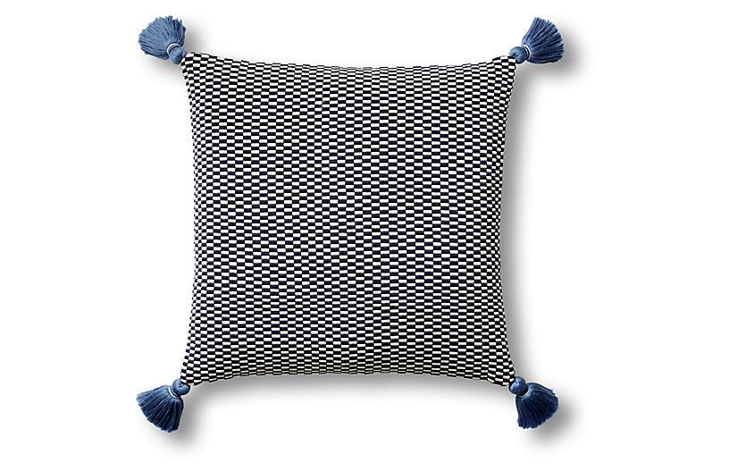 Ella 18x18 Pillow, Navy/Natural
