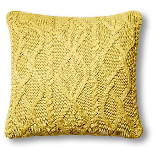 Chalet 24x24 Cable-Knit Pillow, Citrus