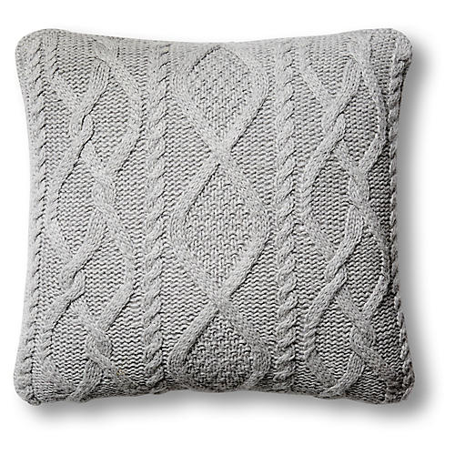 Chalet 24x24 Cable Pillow, Heather Gray