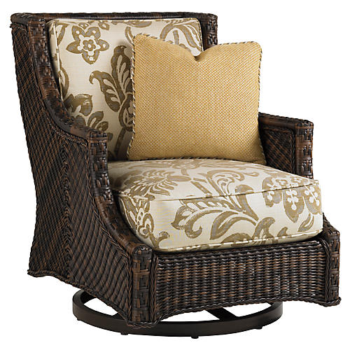 Lanai Swivel Rocker Chair, Gold/Beige