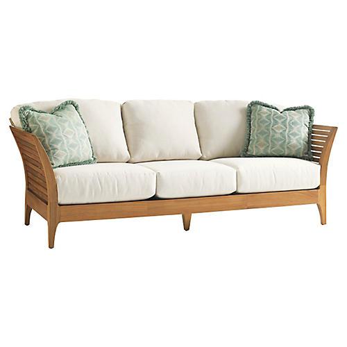 "Tres Chic 88"" Outdoor Sofa, Ivory"