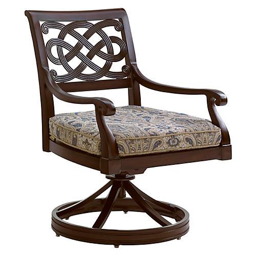 Black Sands Outdoor Armchair, Blue/Beige Sunbrella