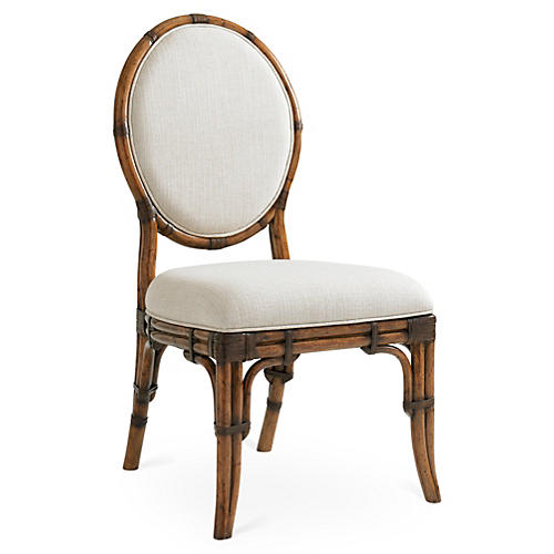 Gulfstream Oval Back Chair, Ivory/Gold