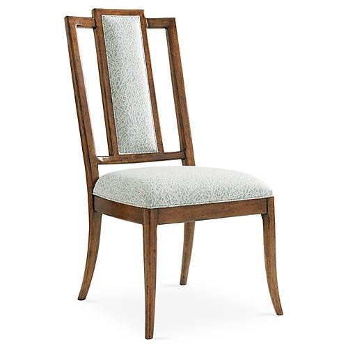 St. Barts Splat Side Chair, Ivory/Sky