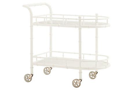 Warwick Bamboo Bar Cart, White