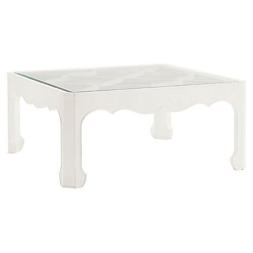 """Cassava 42"""" Square Coffee Table, White"""