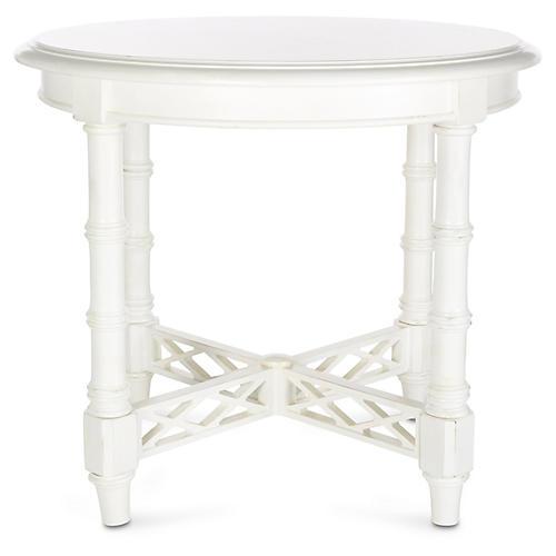 "Edgehill 28"" Round Side Table, White"
