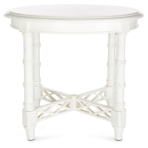"Edgehill 28"" Round Side Table, White"