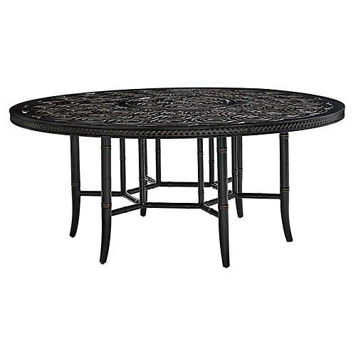 Marimba Round Dining Table, Gold/Black