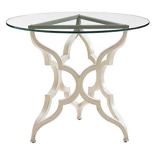 Misty Round Glass Bistro Table, Umber