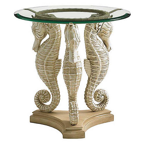 Alfresco Sea Horse Side Table, Ivory/Soft Umber