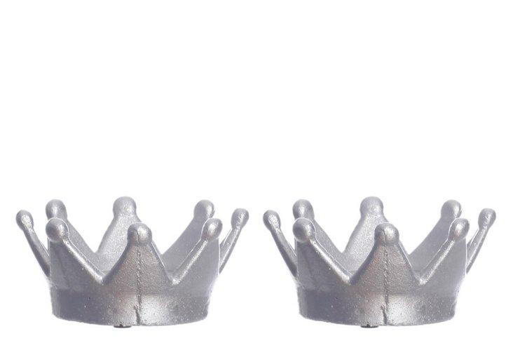 S/2 Kiara Crown Candleholders, Silver