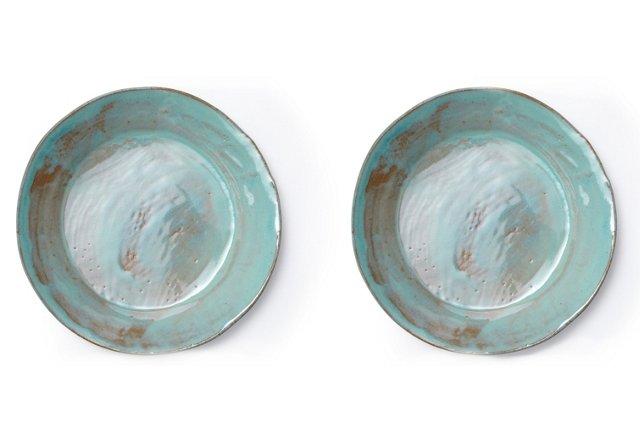 Aqua Salad Plates, Set of 2