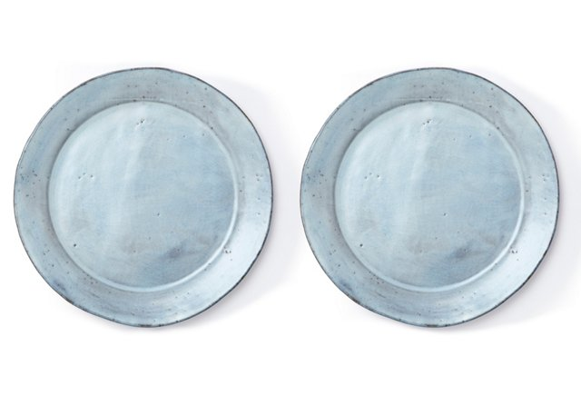 Stone White Dinner Plates, Pair