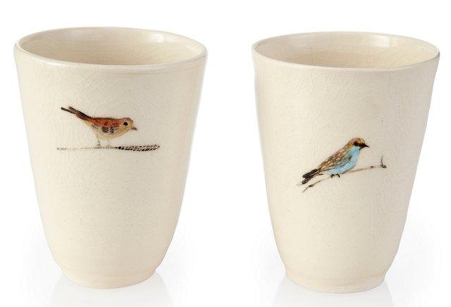 Birds Tumblers, Pair