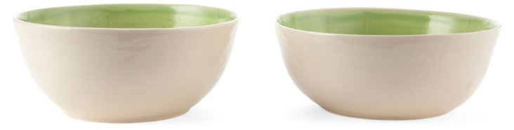 Green & White Cereal Bowls, Set of 2