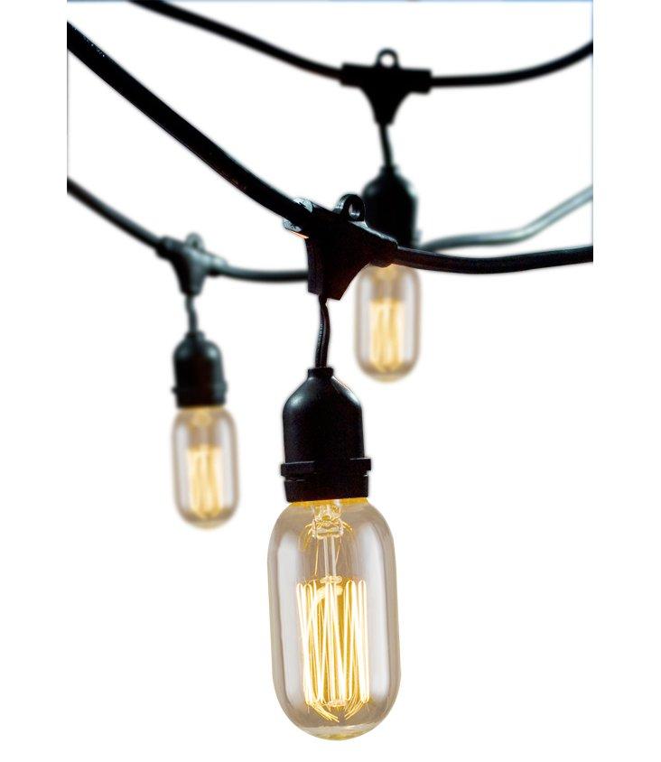 Oval Outdoor String Lights Kit, Black