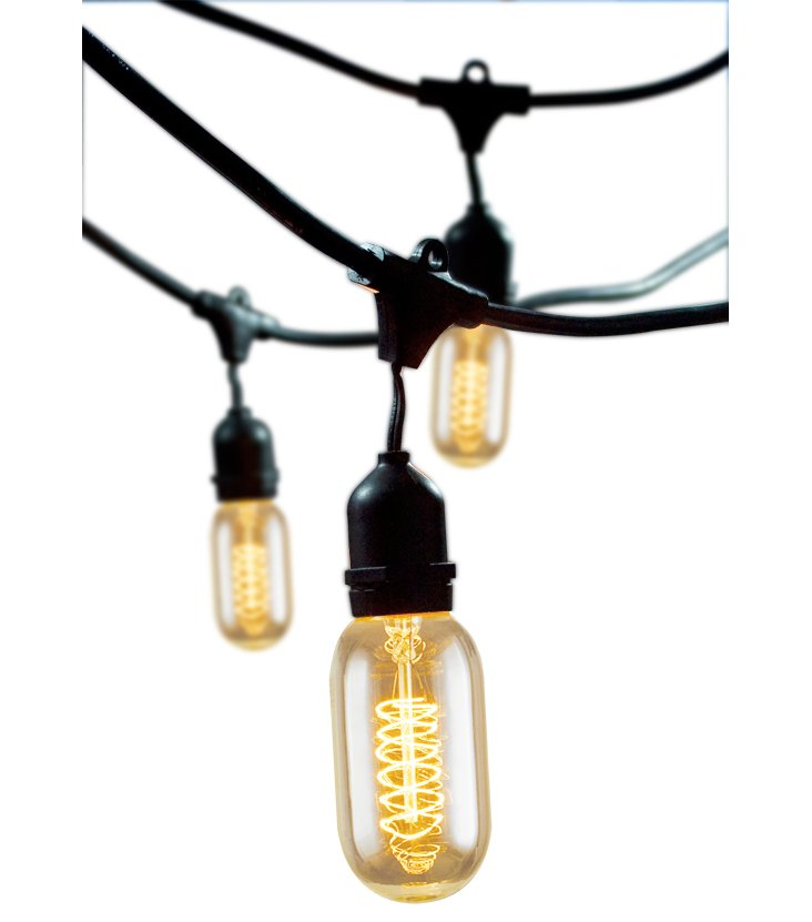 Vintage Outdoor String Lights, Black
