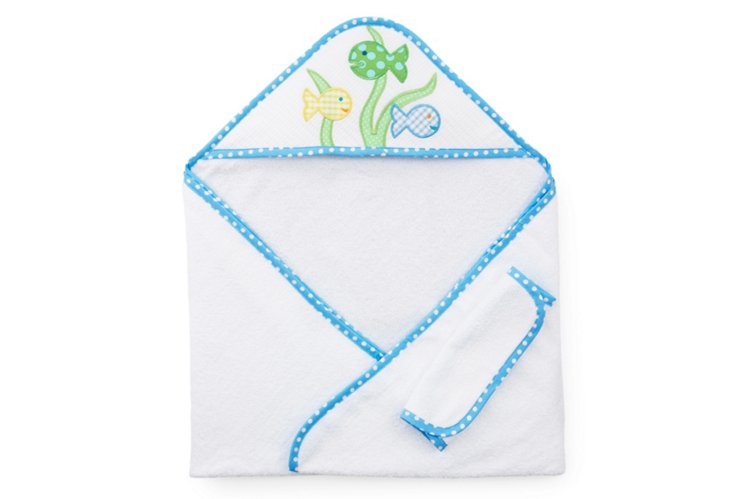 Fish Hooded Towel and Washcloth, Blue