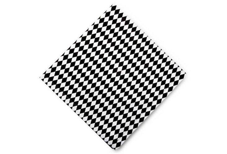 S/4 Harlequin Napkins, White/Black