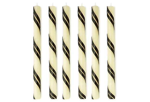 S/6 Double Swirl Tapers, Black & White