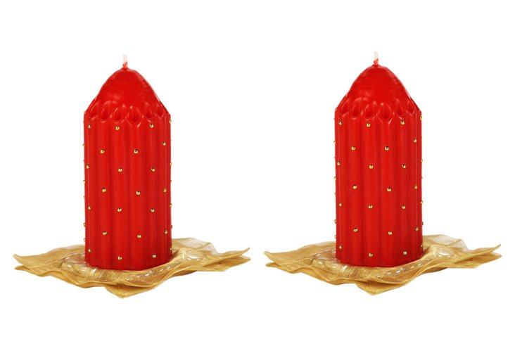 S/2 Red & Gold Studded Pillars