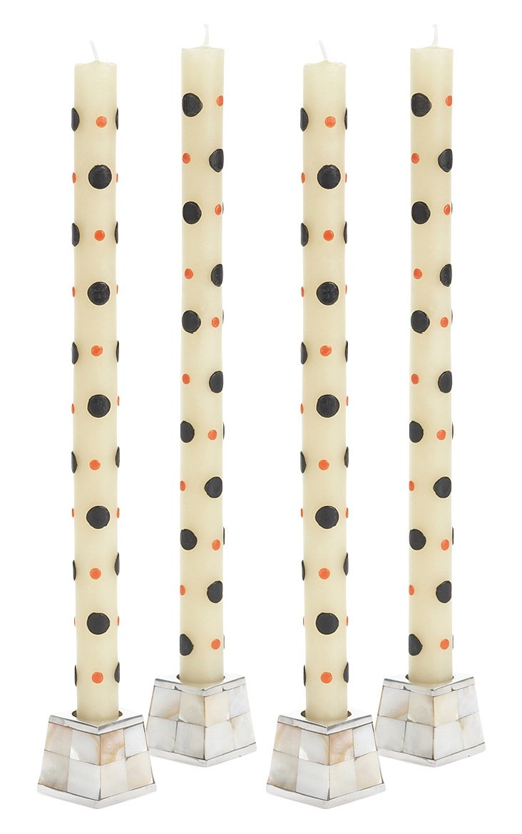 S/4 Black & Orange Dots Tapers