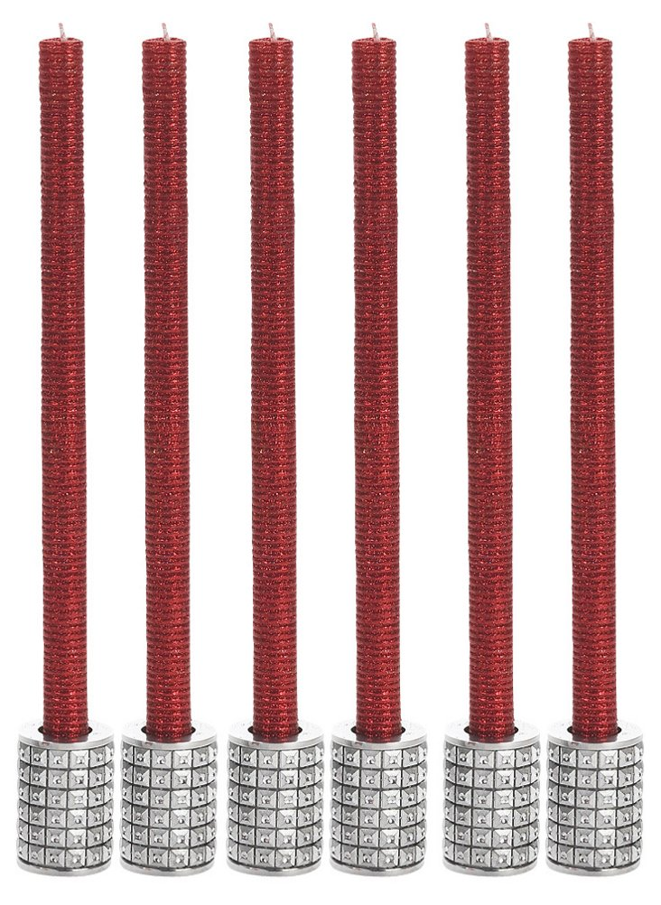 S/6 Ruby Glitter Tapers