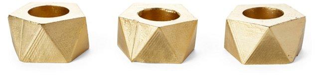 "S/3 2"" Geometric Air Planters, Gold"