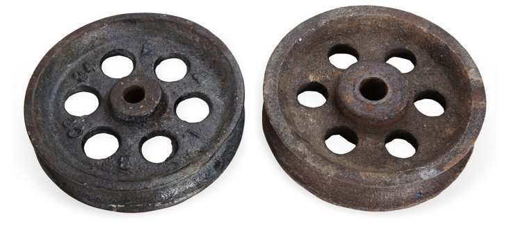 Early-20th-C. Gears, Pair