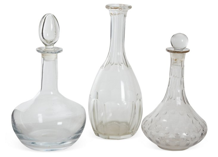 Early-20th-C. Decanters, Set of 3