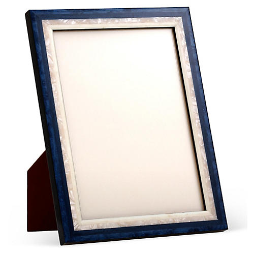Mother-of-Pearl Frame, Blue/White