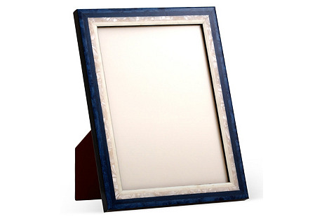Mother-of-Pearl Frame, 4x6, Blue/White